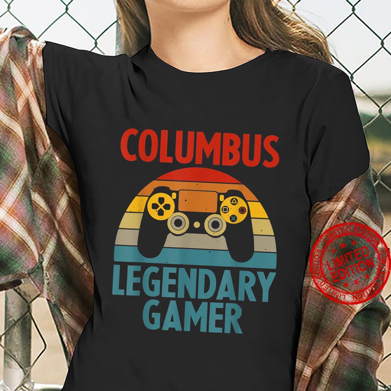 COLUMBUS Name Personalized Gaming Geek Birthday Shirt ladies tee