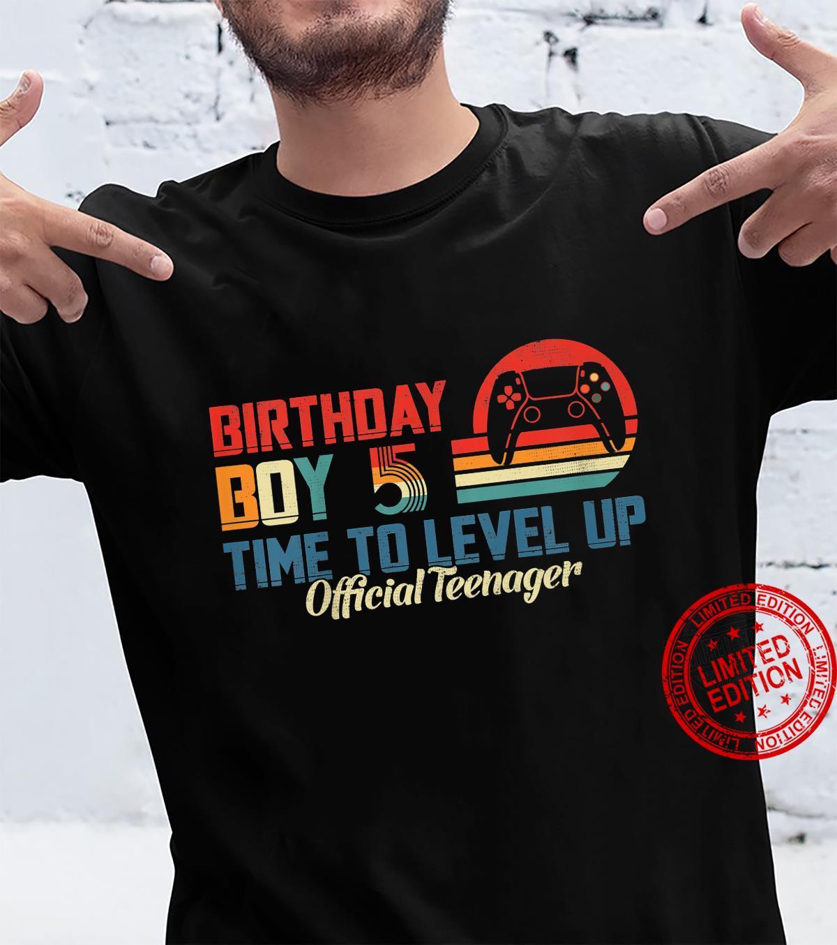 Kids Birthday Boy 5 Time to Level Up 5th Birthday Boy Level Up Shirt