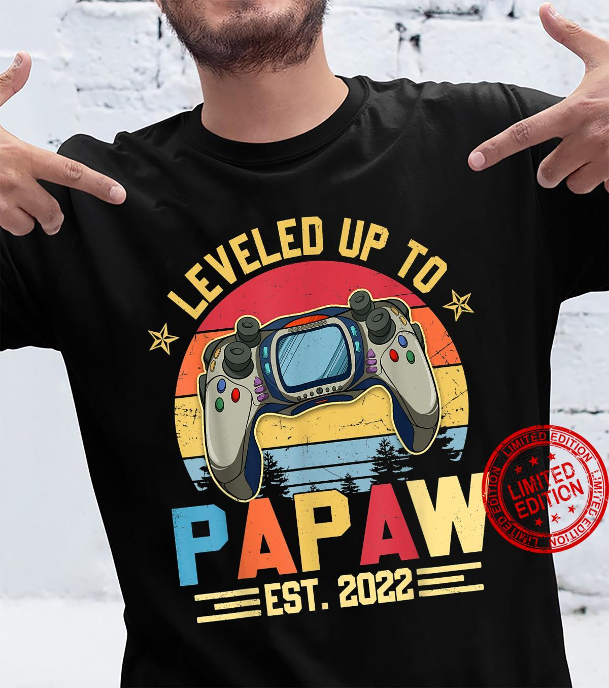 Level Up To Papaw Est.2022 Cool Video Gamer Shirt