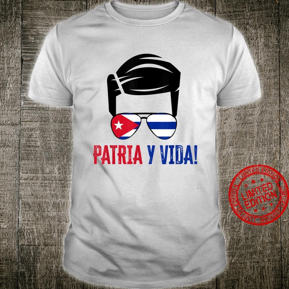 Mens Patria Y Vida SOS Cuba Sunglasses Cuba Flag Shirt