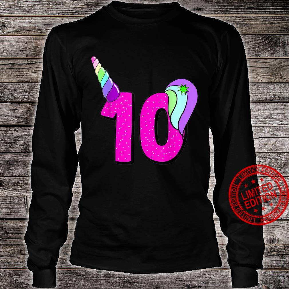 Number unicorn 10th birthday back to school rainbowcolors Shirt long sleeved