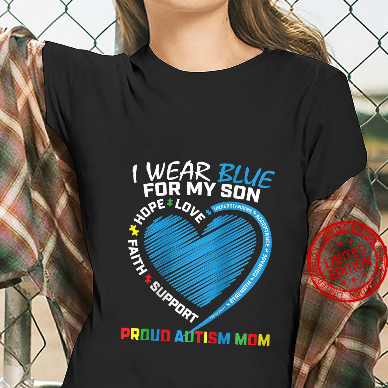 Womens Mom Heart Puzzle I Wear Blue For My Son Autism Awareness Shirt ladies tee
