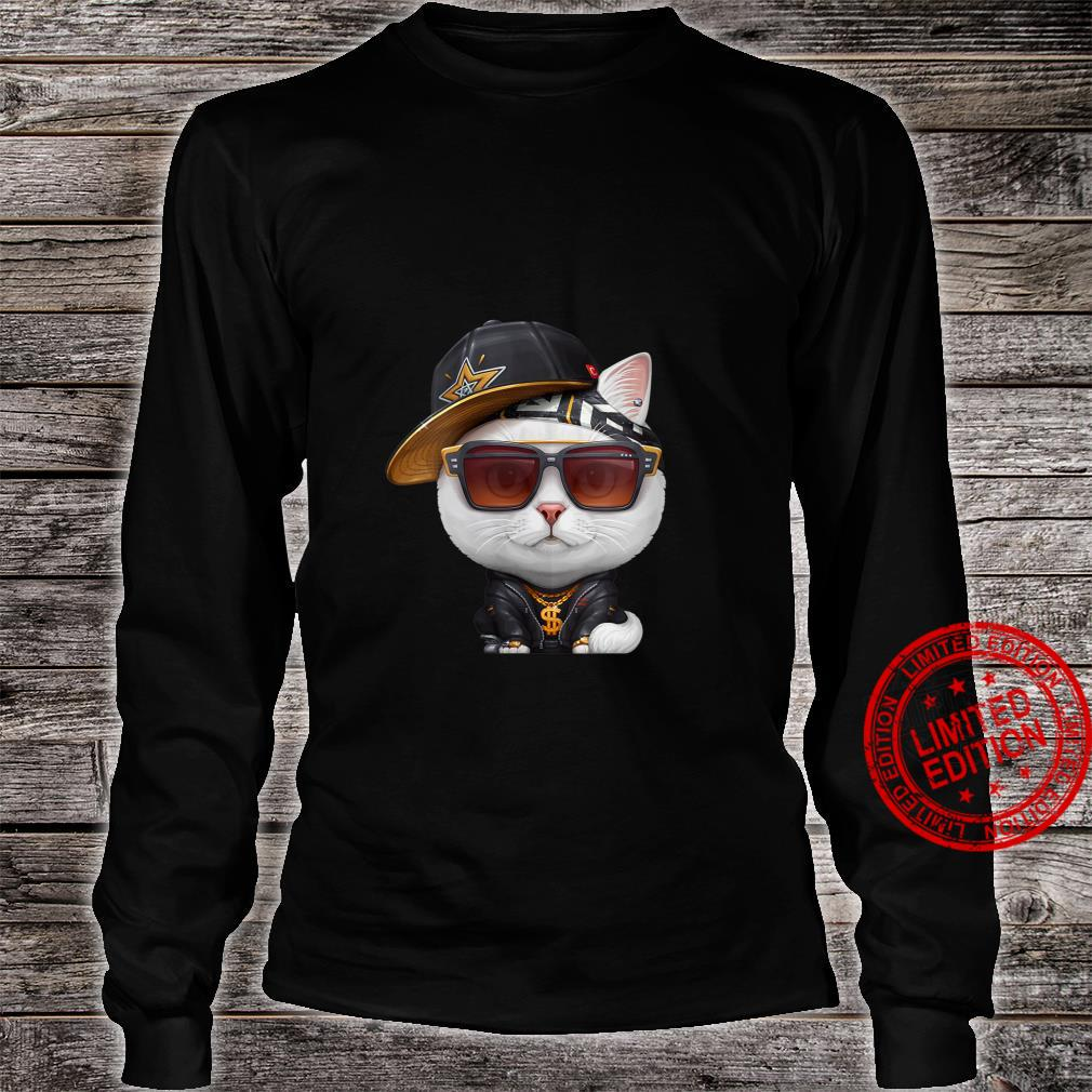 Womens White Cat HipHop Super Star Shirt long sleeved