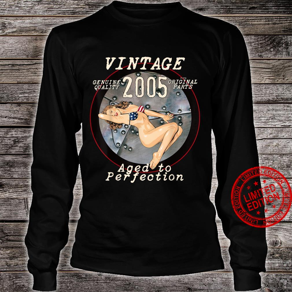 2005 Bomber Nose Art Hot Pinup 16th Birthday Distressed Shirt long sleeved