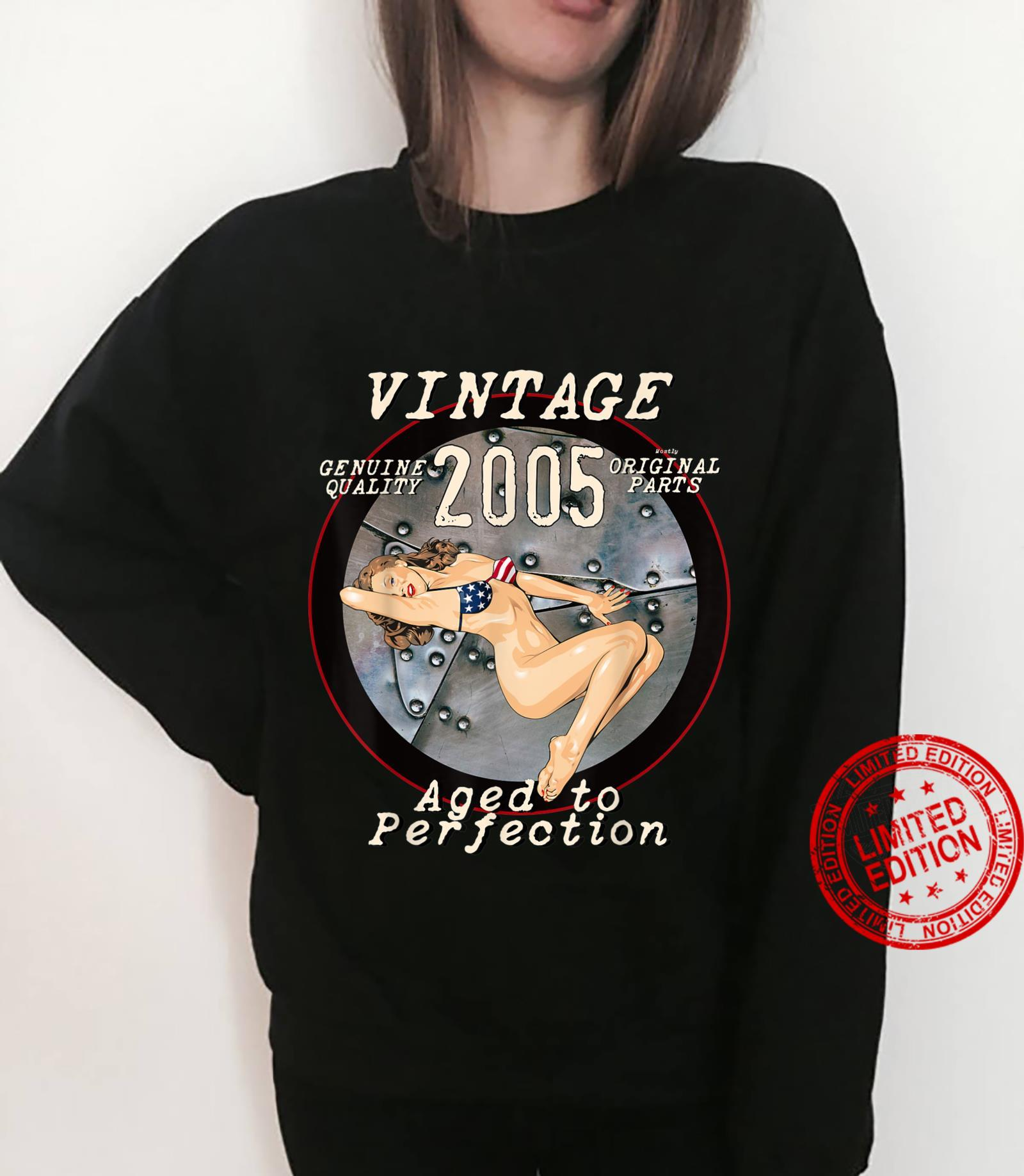 2005 Bomber Nose Art Hot Pinup 16th Birthday Distressed Shirt sweater