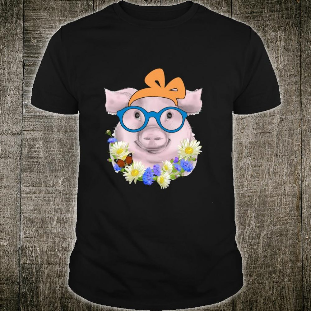 Cute Bandana Pig with Glasses and Flowers Girls & Shirt