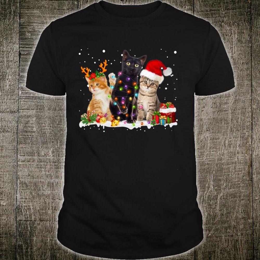 Funny Cats Christmas Reindeer Lights Kitten Shirt