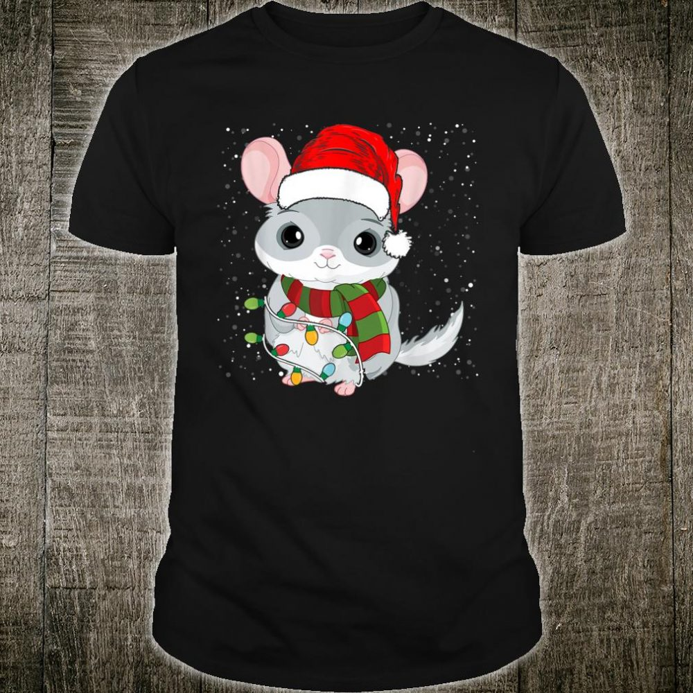 Funny Chinchilla Christmas Santa Hat Lights Xmas Shirt