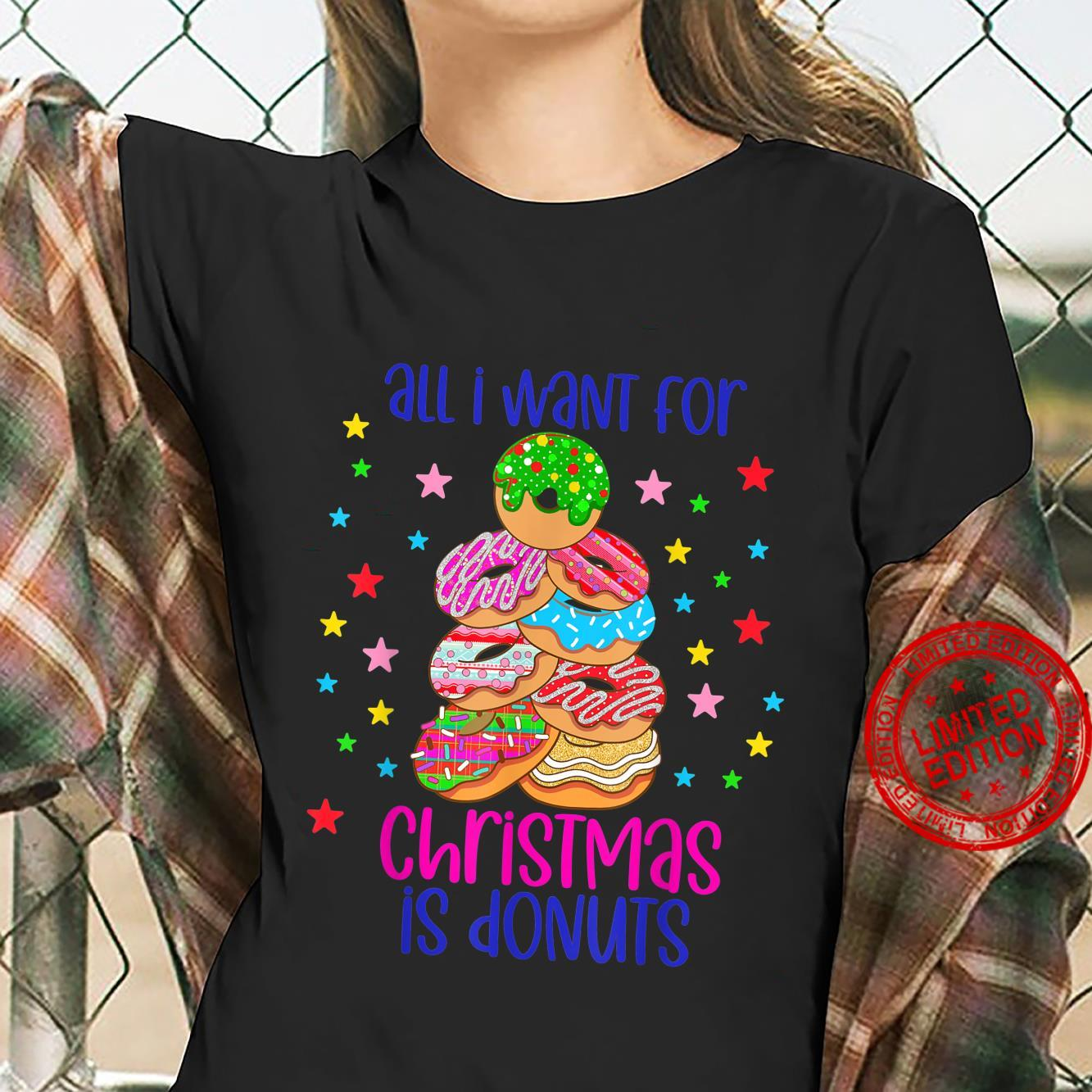 Funny Christmas tree donut pastry food doughnut Shirt ladies tee