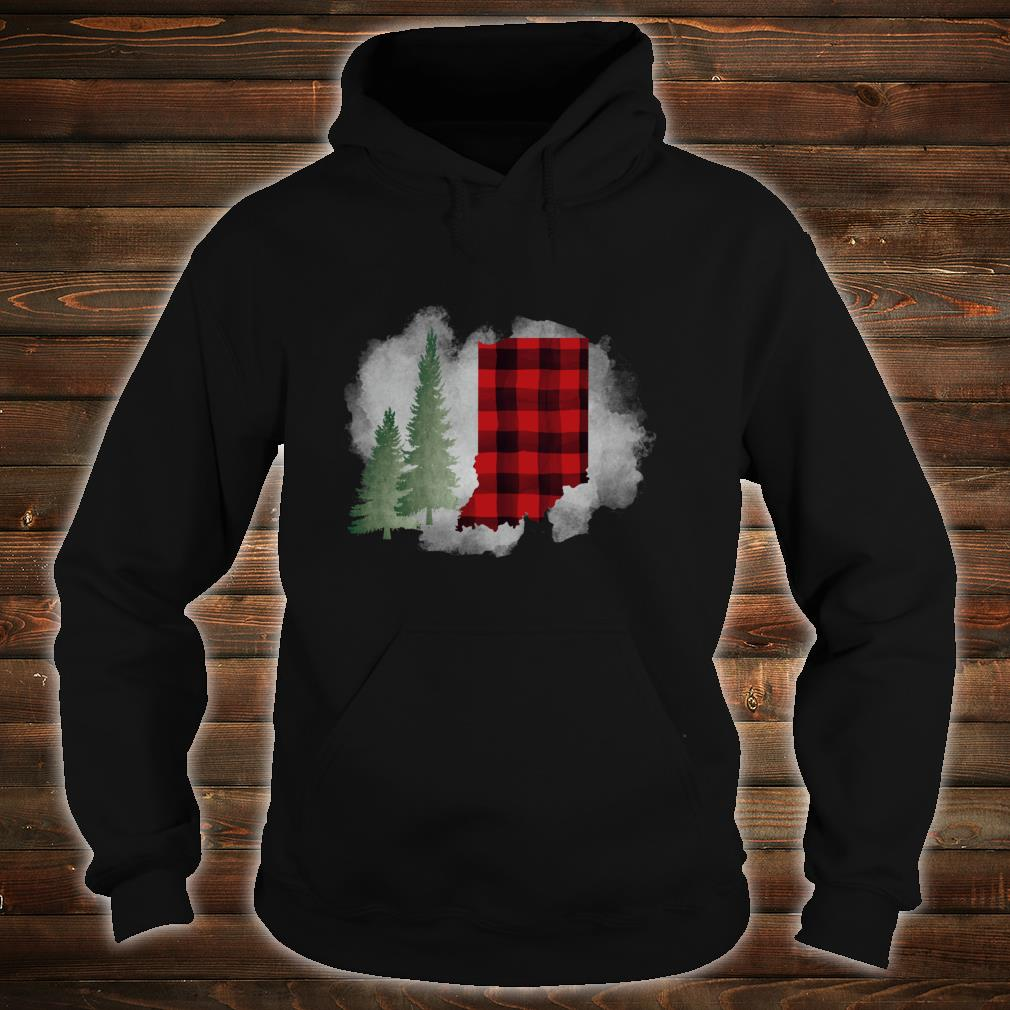 Hoosier State Indiana Buffalo Plaid Winter Scene Shirt hoodie