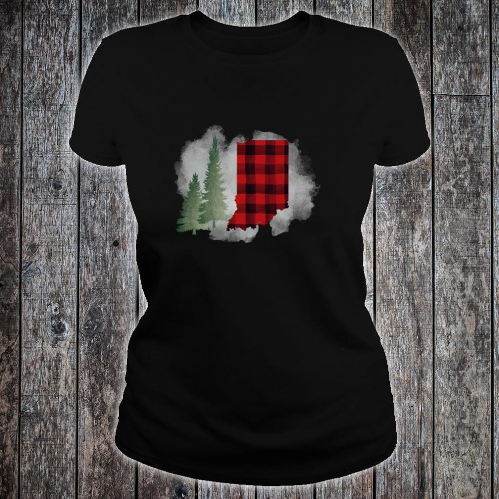 Hoosier State Indiana Buffalo Plaid Winter Scene Shirt ladies tee