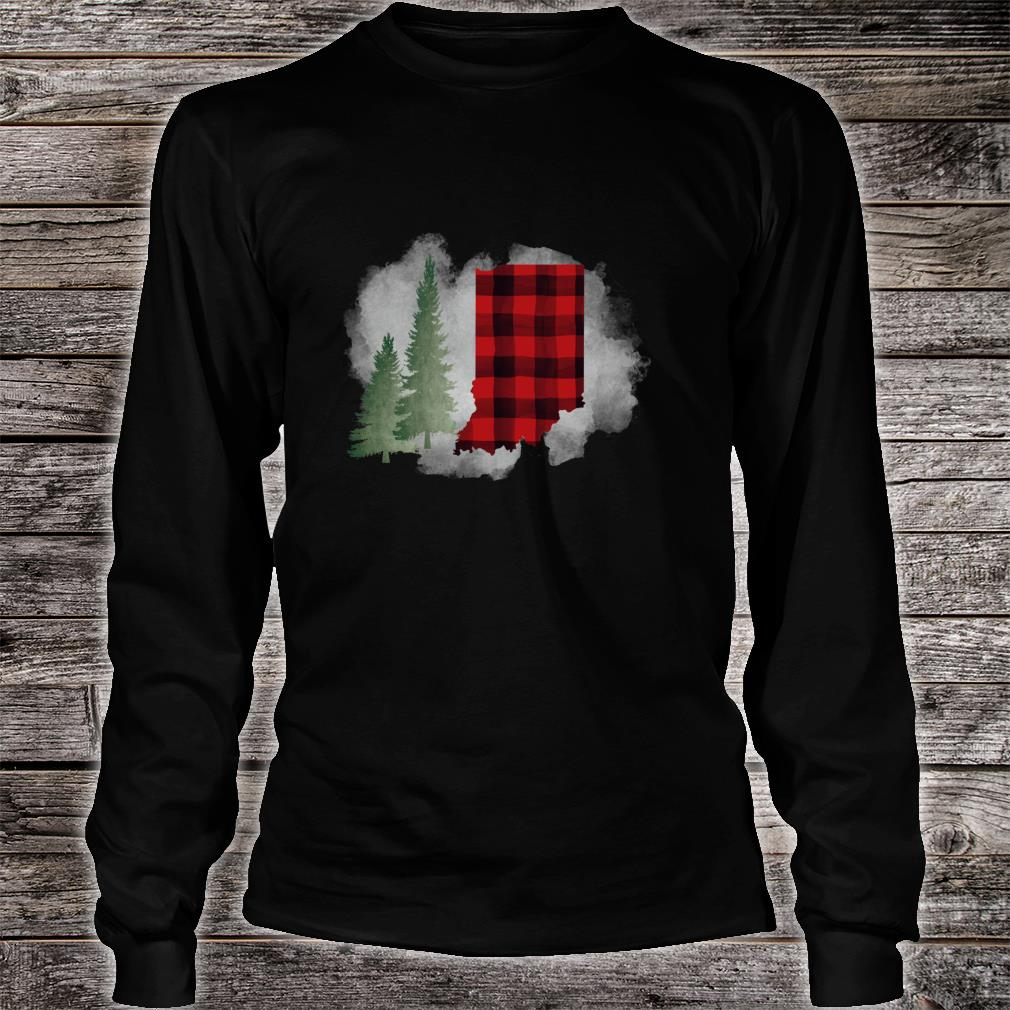 Hoosier State Indiana Buffalo Plaid Winter Scene Shirt long sleeved