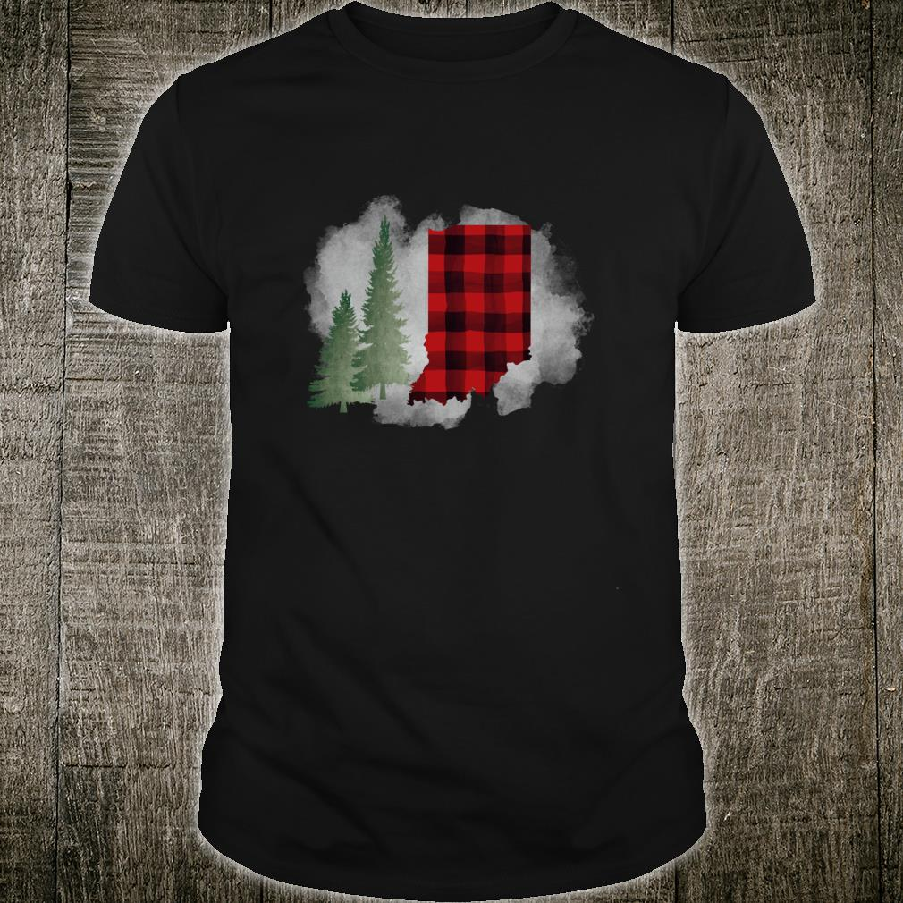 Hoosier State Indiana Buffalo Plaid Winter Scene Shirt