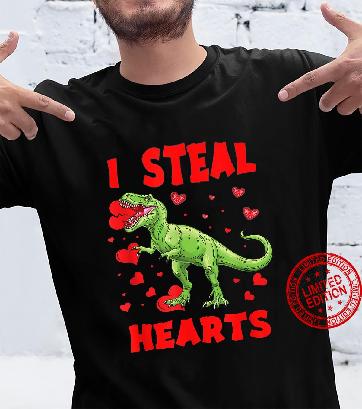 I Steal Hearts TRex Boys Valentines Day Dinosaur Shirt