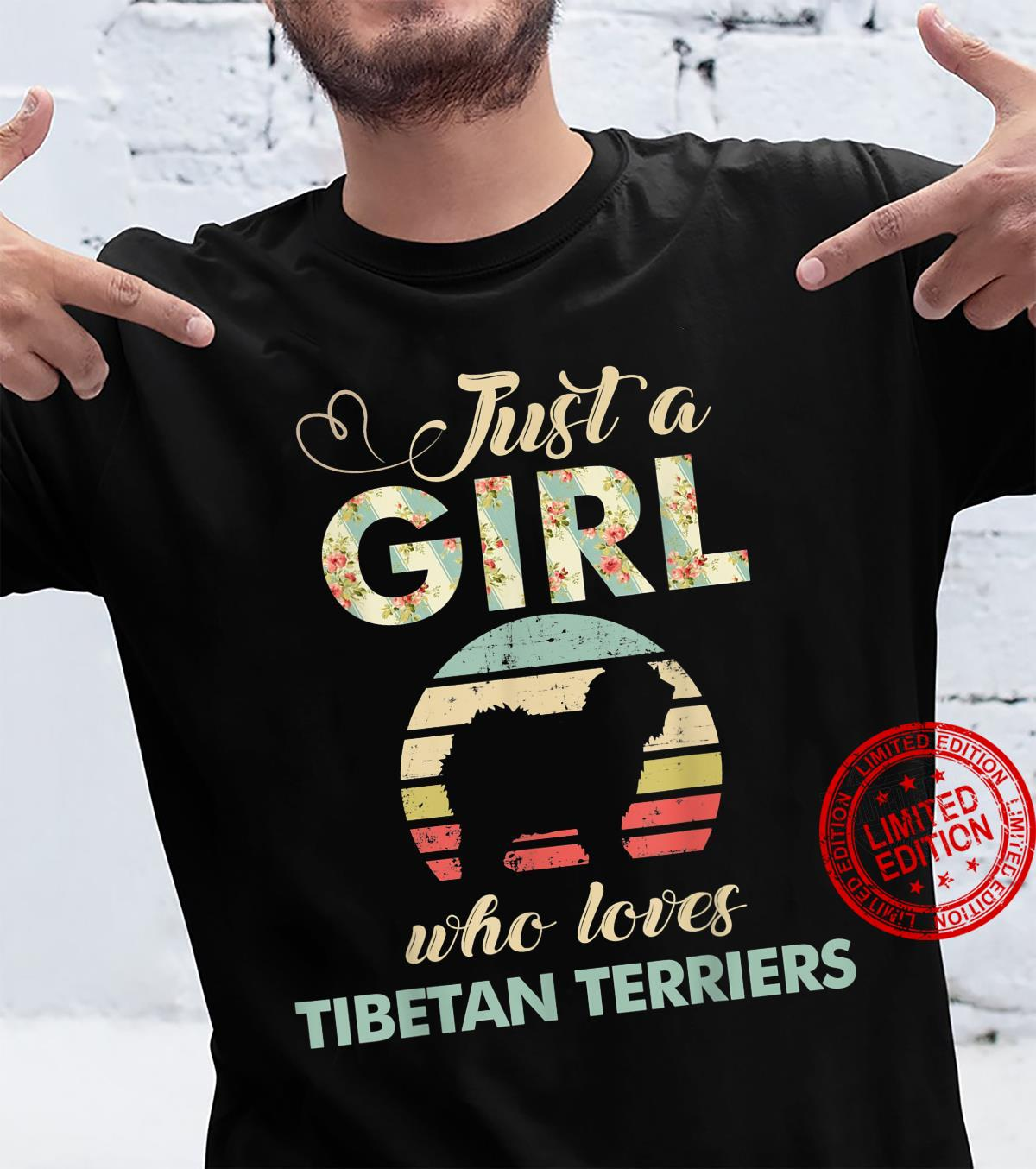 Just A Girl Who Loves Tibetan Terriers Retro Vintage Dog Shirt