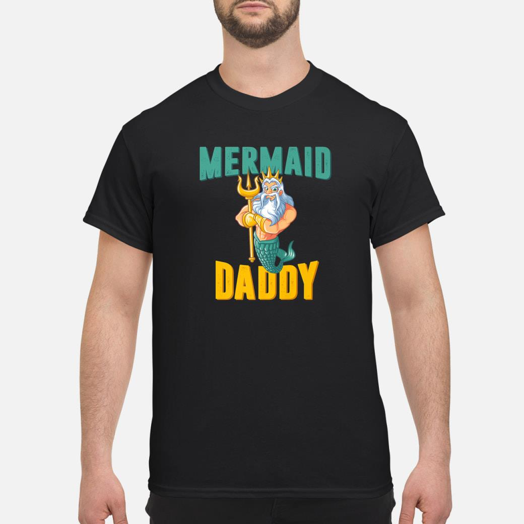 Mermaid Daddy Neptune Family Dad Matching Security Party Shirt
