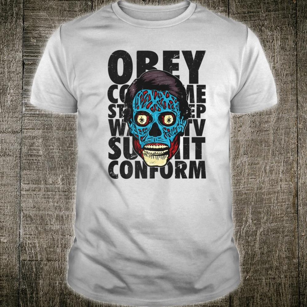 They Live Alien Face Text Stack Shirt